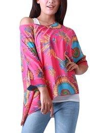 Wholesale Women s Tops Tees Brand New Bohemian Print Oversized Chiffon T Shirt Pink Chuvivi Unique Fashion Apparel