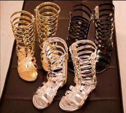 Wholesale 2016 New Casual Children Gladiator Sandals Kids Girl Summer Shoe High Led Boots Sandals Colors Sliver Gold Black Size Pick Sizes