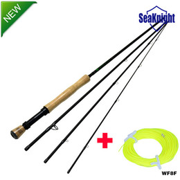seaknight carbon fly fishing rods 7 8 9ft bamboo handle 4 sections 27m trout fly fishing equipment wf8f fly line - Fly Bambou