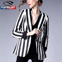 Discount Black White Striped Blazer Women | 2017 Black White ...
