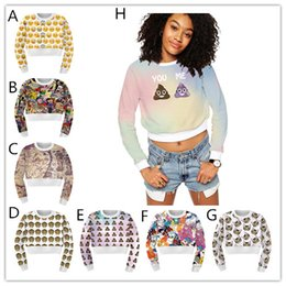 Wholesale 2016 Sexy Women fashion Bare Midriff d Printed hoddie emoji Crop top Hoodie cartoon poke Sweatshirt Jumper Sweater Pullover Tops Coat
