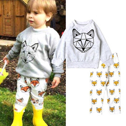Wholesale Sweet Toddler Kids Boys Girls Fox Outfits Fall Winter Long Sleeve tees and Pants Sets Cotton Cute Boys Clothing MC0135