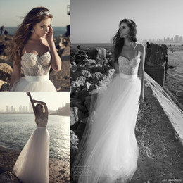 Wholesale Julie Vino New Sexy Spaghetti Straps Wedding Dresses A Line Appliques Long Tulle Summer Beach Garden Bridal Gowns Simple Bride Dresses