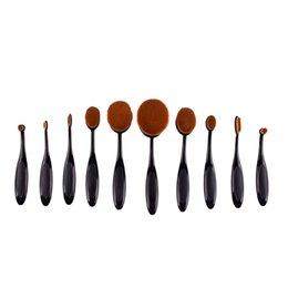 Wholesale 10 Pro Toothbrush Shaped Oval Makeup Brush Cosmetic Foundation Cream Powder Blush Makeup Tool Cream Puff BB Cream Brushes Makeup Tool
