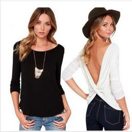 100Pcs Printemps Eté Nouveau Mode Sexy Dew Retour Croix-Piece Plier T-shirt Slash femme Col Slim manches longues T-shirt S-XL