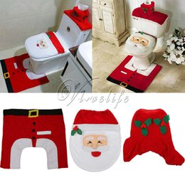 2016 toilet tissue decoration 3Pcs Set Santa Shape Toilet Set Seat Cover Rug Tissue Box Cover Tank Cover for Home Bathroom Christmas Decorations cheap toilet tissue decoration