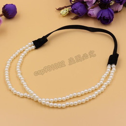 online shopping DHL fashion Women Charm Chain Artificial Pearls Headband Jewelry Elastic Layers Hair Hoop hair accessories