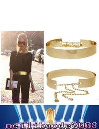HOT моды для женщин Полное золото / серебро металлическое зеркало Пояс металлический золотой пластине Широкий диапазон Оби с цепями MYY