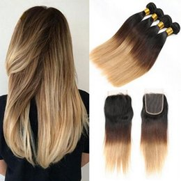 2017 ombre weaves closure Honey Blonde Ombre Peruvian Hair With Closure Three Tone 1B 4 27 Ombre Hair Silk Straight 4 Bundles With Lace Closure 5Pcs Lot discount ombre weaves closure