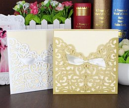 Wholesale Lace Ribbon Bow Knot Wedding Invitation Card Vintage Laser Cut Gold Hollow Flowers Blank Inside With Envelope Wedding Invitations Cards b144