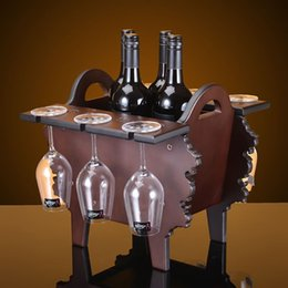 shipping missile european wine frame creative wine bar ornaments factory direct custom wood cup holder cheap custom frames wood