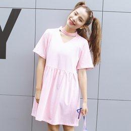 Wholesale vêtements bon marché de porcelaine femmes harajuku robes nouvelles robe d été de roche mignon kawaii femmes sexy rose creuse V cou doux korean