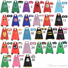 Wholesale 70 CM Double Side kids Superhero Cape Batman Ironman Ninja Turtles Spiderman Captain America Supergirl kids capes with mask in stock