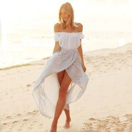 Wholesale Fashion Women Long Boho Dress Striped Split Maxi Beach Party Prom Dresses Slash Neck White Crop Top Asymmetric Casual Dresses PDF0471