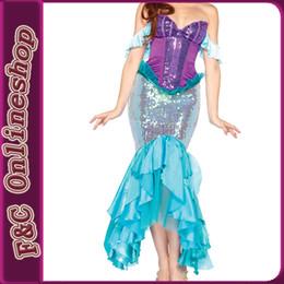 Wholesale Al por mayor Sexy del traje de la sirena del cequi del hombro cosplay en cuento de hadas para las mujeres con las perlas del faux en el frente de la ropa
