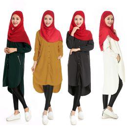 Wholesale 2016 Spring Autumn Turkish women clothing Long muslim T shirt Solid Color Islamic tops Dress musulmane vestidos longos dubai kaftan abaya