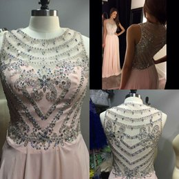 Wholesale Pink Dresses Long Prom Dressess A Line Jewel Sweep Train Sequins Beaded Sheer Neck Evening Gowns Party Dresses Evening HY00694