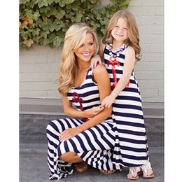 Wholesale Mother and Daughter Clothes Striped Dresses Sequined Anchor Print Casual Dresses Family Clothes Mother and Daughter Dress