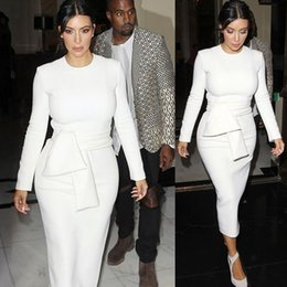 Wholesale Kim Kardashian Automne Blanc Bodycon Robes Elegant travail de bureau printemps à manches longues O Neck moyen Long Pencil Robes XXL