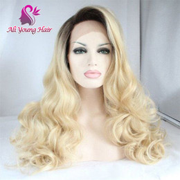 Discount ombre human hair wave Natural Hairline Ombre 1b #613 Lace Front Wigs Brazilian Virgin Hair Soft Body Wave Transparent Lace Human Hair Wigs With Baby Hair