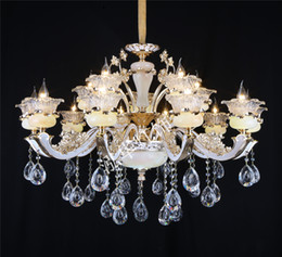 luxurious jade crystal pendant lamps modern led chandeliers 6 8 15 arms optional candle holders remote switch decoration light living room candle decorative modern pendant lamp