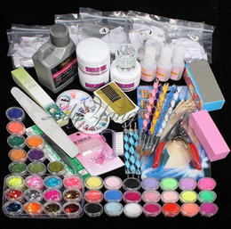 Wholesale 42 Acrylic Nail Art Tips Powder Liquid Brush Glitter Clipper Primer File Set Kit