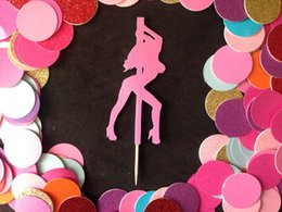Wholesale Glitter Sexy Stripper pole dancing Girl Glitter Cupcake Toppers Birthday wedding bridal shower baby shower party foodpicks