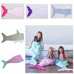 Wholesale Kids Mermaid Tail Sleeping Bags Mermaid Tail Blankets Shark Blankets Cocoon Mattress Sofa Bedroom Blankets Camping Travel Blankets A1236
