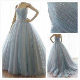 Wholesale Blue Ball Gown Quinceanera Dresses Tulle Sweetheart Crystal Sweet Ball Gowns Formal Special Occasion Evening Party Dress Online