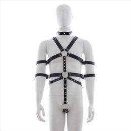 Wholesale Male Leather Restraints Bondage Gear Body Harness Bdsm Chastity Cock Ring Sex Restraint Toys For Men