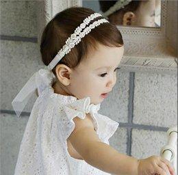 Wholesale Lo nuevo de los bebés bebés blancos de algodón del arco del cordón vendas arquea para niños Bowknot Hairbands de la princesa boda bandas para la cabeza linda del tocado KHA496