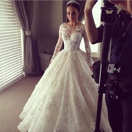 Wholesale 2016 Ball Gown Wedding Dresses Illusion Long Sleeves D Floral Appliques Luxury Bridal Gowns Button Covered Back Robe de marriage Plus Size