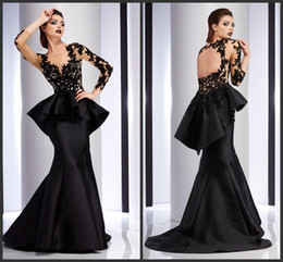 Wholesale 2016 Black Clarisse Evening Prom Dresses Wear Long Sleeves Beads Celebrity Dress Appliques Lace Long Sleeves Peplum Formal Party Gowns