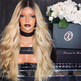 2017 ombre human hair wave Awesome Natural Long Body wave Blonde Human Hair Lace Front Wig Glueless Ombre Black Blonde 100% Human Hair Women Wigs Blonde cheap ombre human hair wave