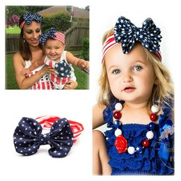 Wholesale 2016 New American Flag Headband th of July Independence Day Knotted Headband with Gair Bow American Flag Hair Accessories K7048