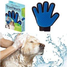 True Touch Cinq doigts Deshedding Gant Animaux Grooming Chiens Gant de bain Making Pets Nettoyage des cheveux pour tous les chats Chats