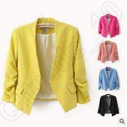 Hot Sale Женская Blazer куртки весной новый сплошной цвет костюма Ruched рукава Slim-Fit Тонкий пальто Кардиган Блейзер Топы CCA4068 200pcs