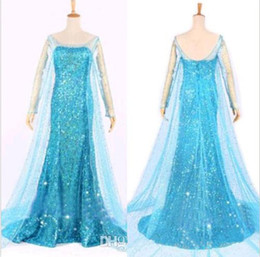 Wholesale HOT SELLING Frozen Elsa Queen Princess Adult Women Evening Party Dress Costume Elsa Dresses Cheap Prom Dresses Gowns