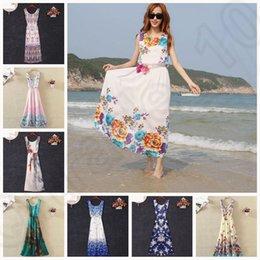 Wholesale 41 design KKA159 Sexy Women Summer Boho Long Maxi Evening Party Beach Chiffon Dress Floral Print Maxi Stripe Sleeveless Maxi Dresses