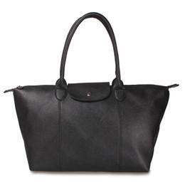 Discount deep shop Wholesale-French brand Folding school Champagne bag Women long Nylon vintage tote Bag PU handle Shopping shoulder handbags