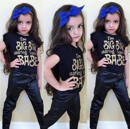 2017 baby black shirts NWT 2016 Baby Girls Boys Outfits Set Summer Sets Boy Cotton Tops Shirts + Harem Pants pu leather 2piece sets - I'm big bow wearing type babe cheap baby black shirts