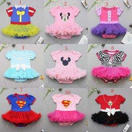 Wholesale vestidos de las nuevas de los bebés de Halloween Minnie Romper con cintas para el pelo de verano para niños Blanco nieve de una sola pieza de la falda del tutú del cordón C1480 ropa de escalada