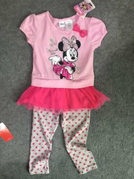 Wholesale Original Brand sets yrs Girl s Minnie Mouse dog Shirt and Pants Dress and Leggings Two Pieces Sets Minnie Mouse Clothes Set