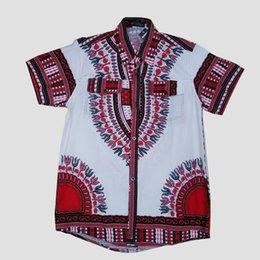 Wholesale Hot sale African Traditional Short Sleeve Men Dress Shirt Top African dashiki print White LBL729