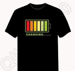 60PCS HHA826 Fashion 226 Party Style Musique Equalizer LED T-shirt, EL T-shirt de son Activé Clignotant T-shirt Light Up and Down