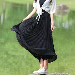 Wholesale Livraison gratuite Printemps et été Femmes Mousseline CM plissé Bohème Casual mode Maxi jupe noir blanc gris vert jupe longue