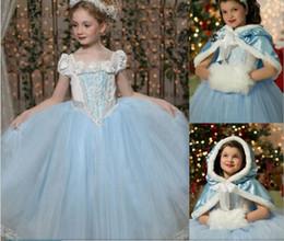 2016 Novas Outono / Inverno Crianças Meninas Princesa Vestidos Natal Halloween Meninas Vestuário Vestidos com Cabo Grandes Fantasias para Festa