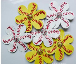 Wholesale 2016 hot fashion Softball Flower Accessory and hair clip softball hair bows softball hairbow baseball hairbow