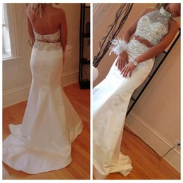 Wholesale 2016 White Mermaid Sheer Beaded Prom Dresses Elegant Beading Crystal Two Pieces Dress Halter Satin Evening Dresses For Teens