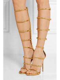 Discount Gold Knee High Gladiator Heels | 2017 Gold Knee High ...